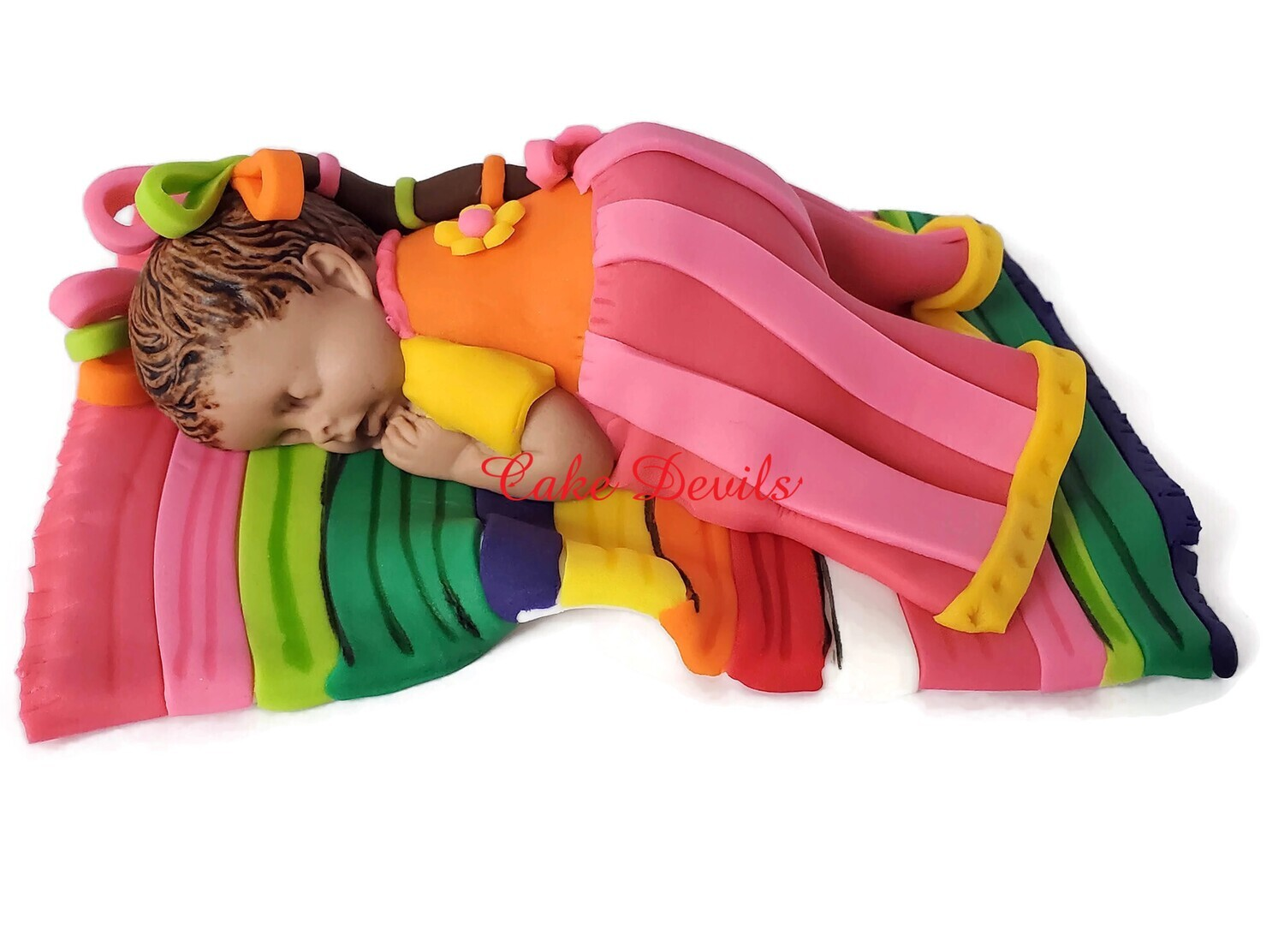 Mexican Doll Fondant Sleeping Baby Girl on a Sarape Cake Topper