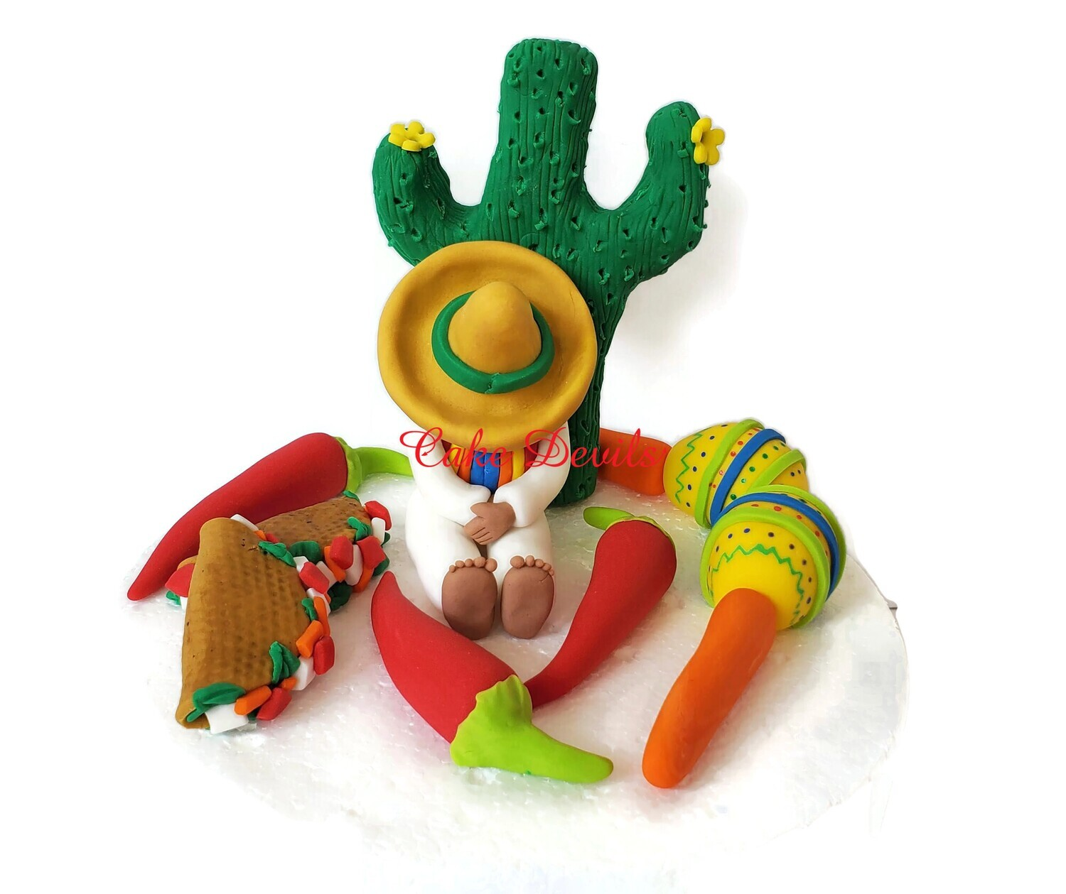 Fondant Mexican Fiesta Cake Toppers perfect for Cinco de Mayo or a Fiesta celebration!