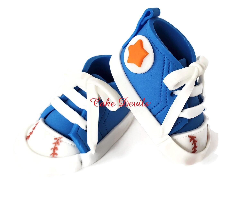 Fondant Baseball Sneakers Cake Toppers for Baby Shower