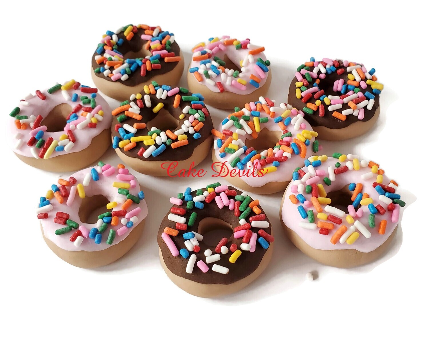 Fondant Donut Cupcake Toppers with Sprinkles and Doughnut Cake Decorations