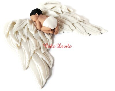 Fondant Baby on Large Angel Wings Cake Topper for Little Angel Baby Shower