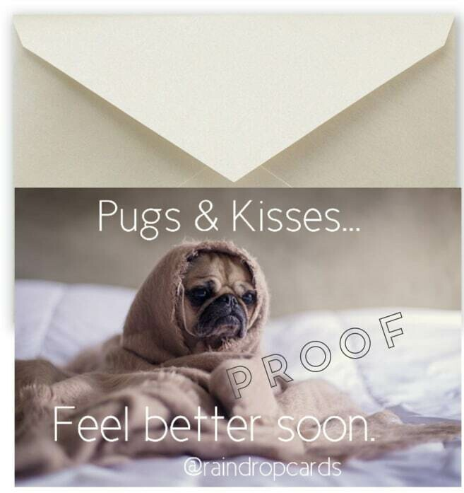 Get Well Soon 'Pugs & Kisses'