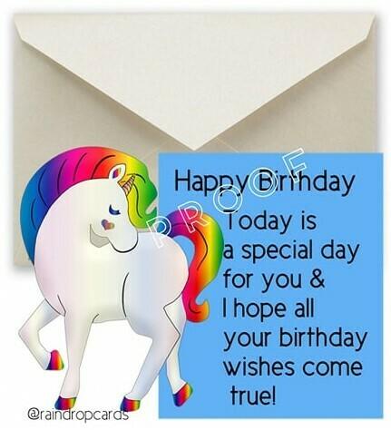 Birthday Unicorn Blue