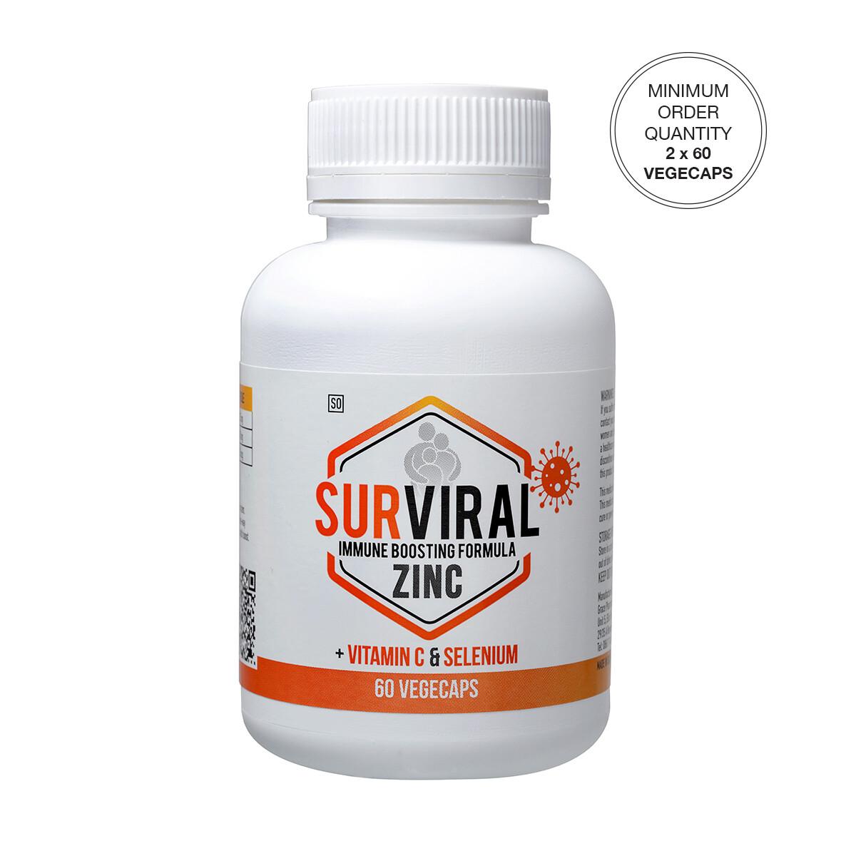 SURVIRAL Zinc + Vitamin C & Selenium Vegecaps [Min. order 2 x 60's]