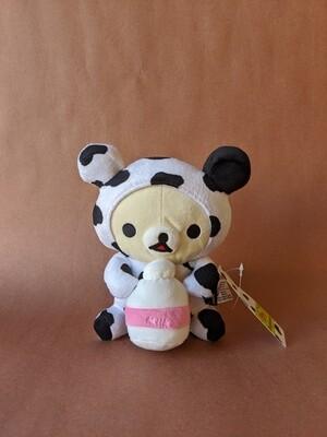 Medium Korilakkuma Plush with Milk Bottle - Cow Series