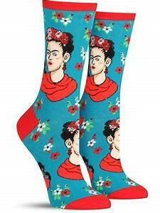 Teal Frida Face Socks