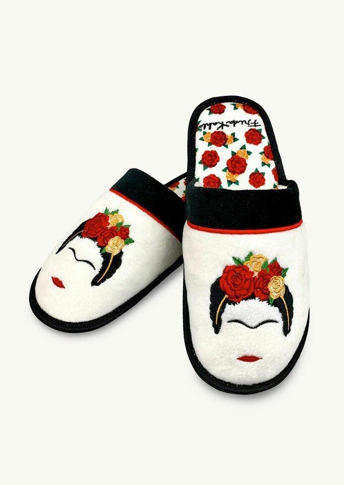 White Frida Slippers/Face