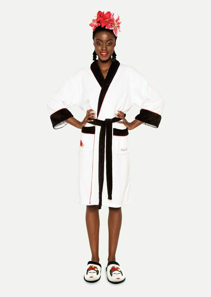 White Frida Terry Cloth Robe