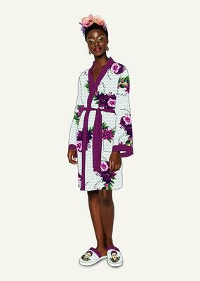 Frida Kahlo Violet Bouquet Satin Style Ladies Robe