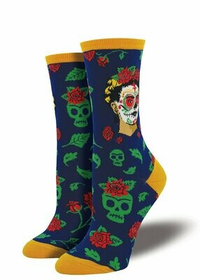 Navy Frida Skull Socks