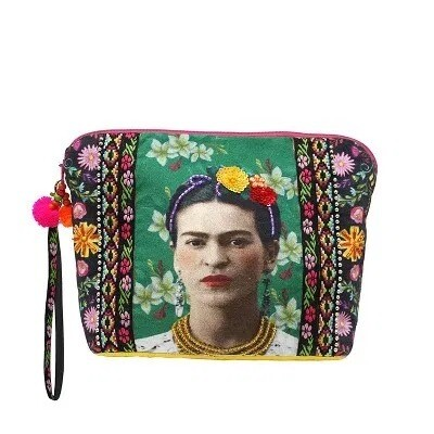 Large Frida Kahlo Zip Pouch by House of Disaster.