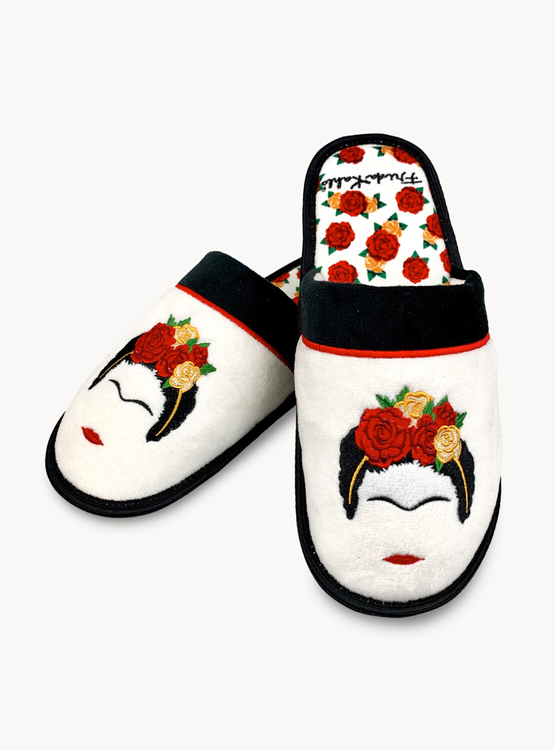 White Frida Slippers/Face