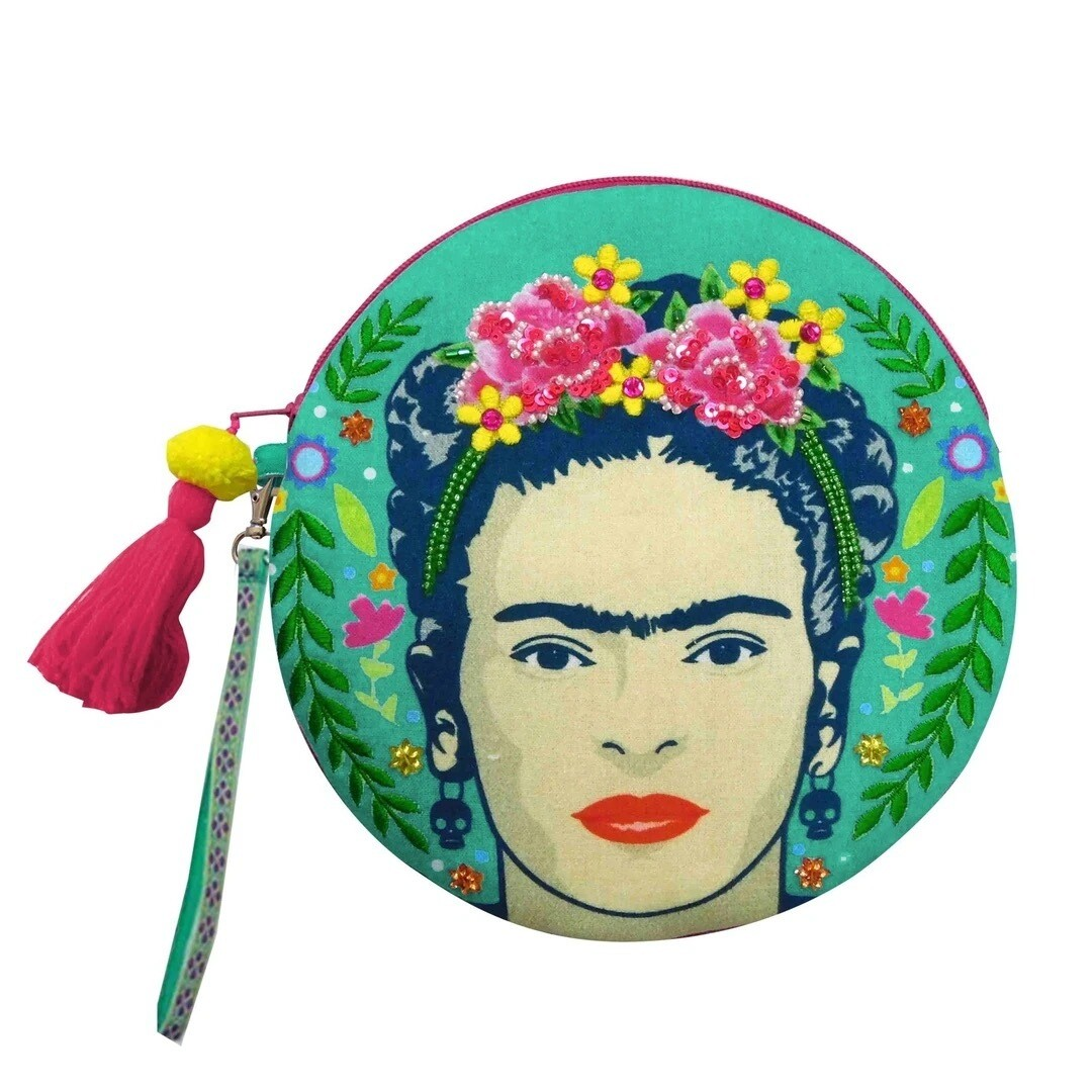 Frida Kahlo Round Make Up Bag by House of Disaster -
