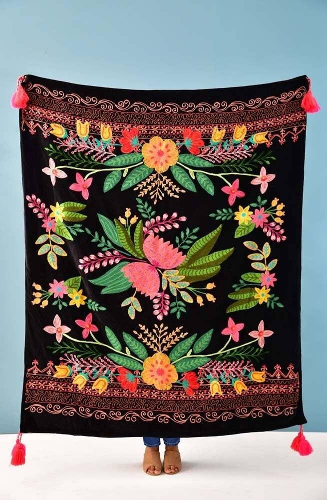 Karma Black Floral Throw