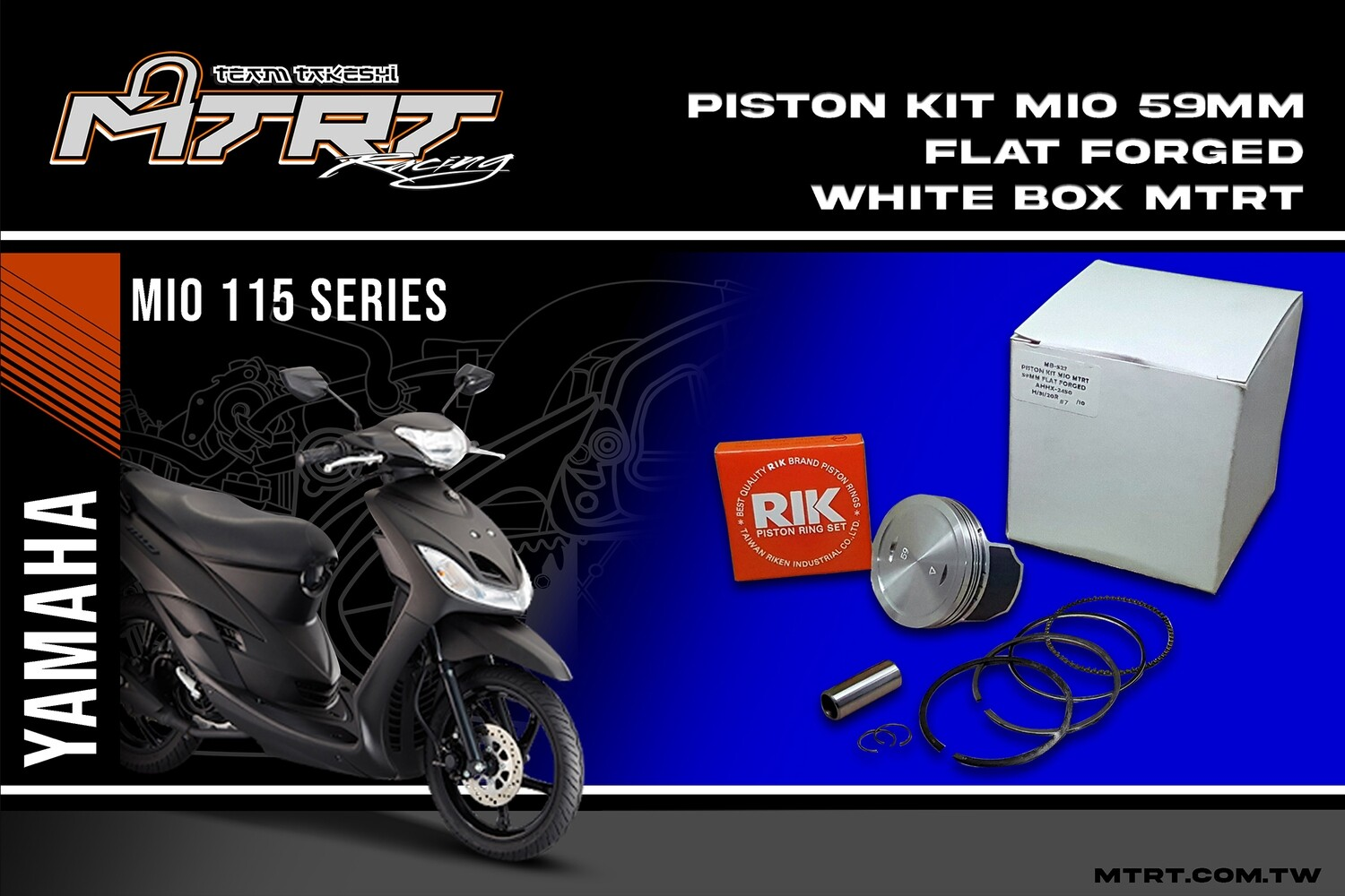 PISTON  KIT  MIO 59MM FLAT FORGED MTRT