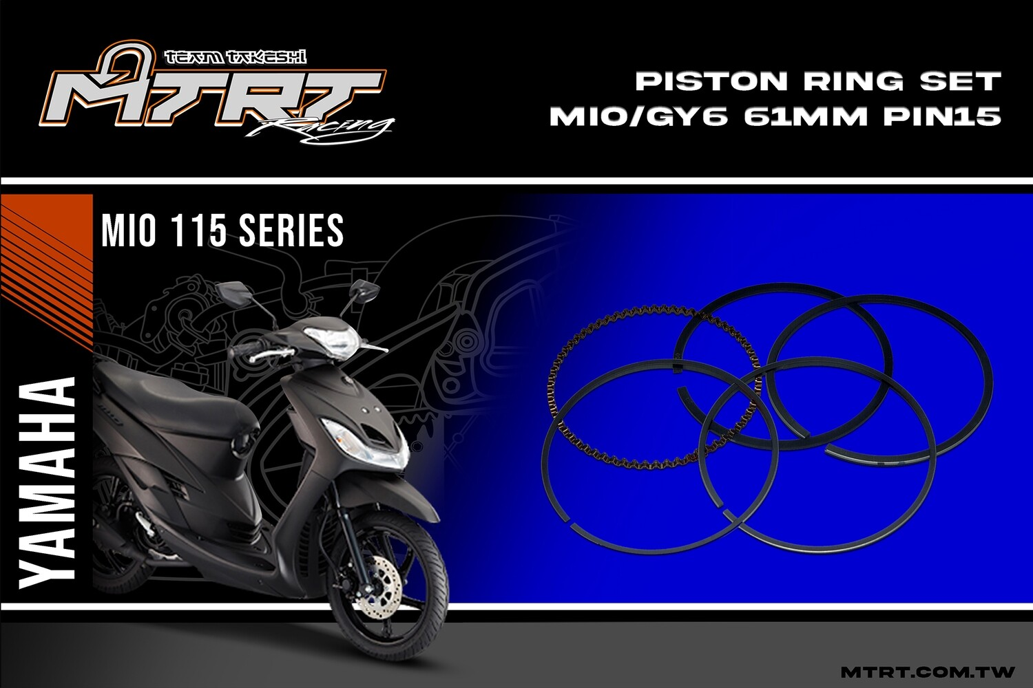 PISTON RING SET MIO/GY6  61mm  Pin15 SEE