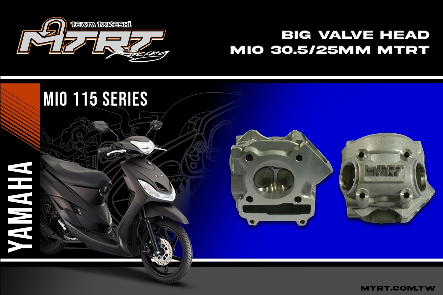 BIG VALVE HEAD MIO 30.5/25mm  MTRT(+manifold+cams ST3 package)