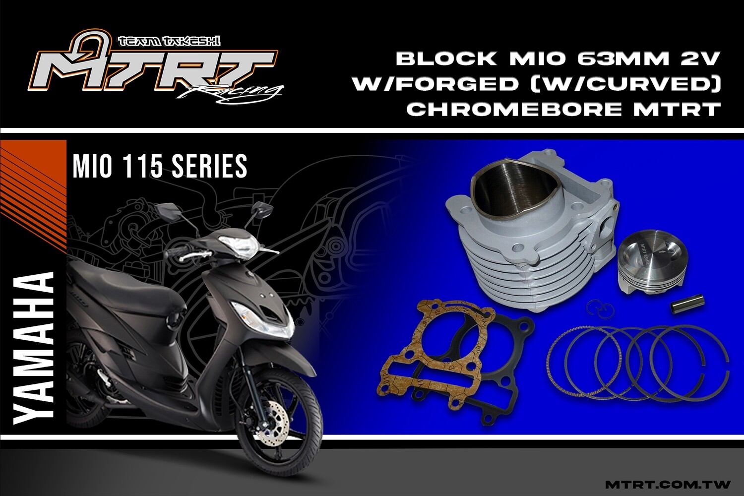 BLOCK MIO 63MM 2V with Forged Piston (Curved) Chromebore  MTRT
