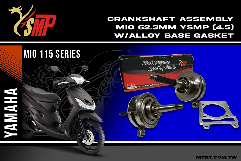 CRANKSHAFT ASSY MIO 62.3mm YSMP (4.5) with alloy base gasket