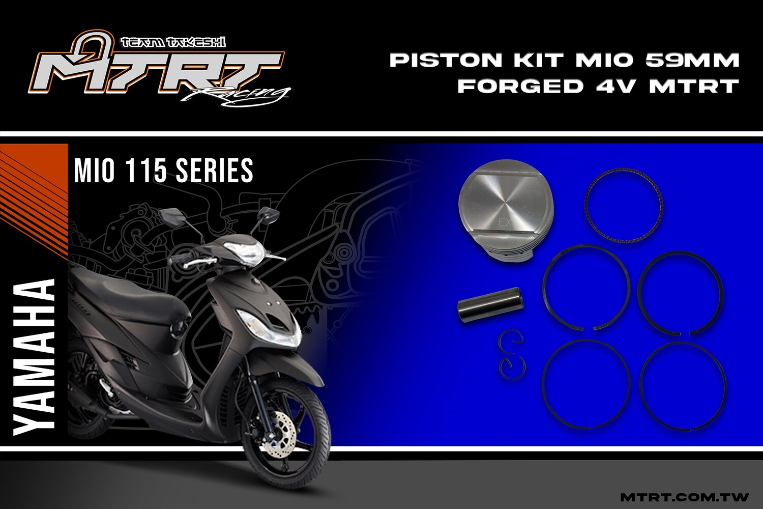 PISTON  KIT  MIO 59MM FORGED 4V MTRT