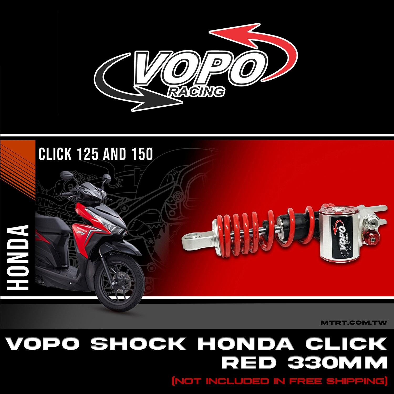 VOPO SHOCK HONDA BEATFI RED 330MM