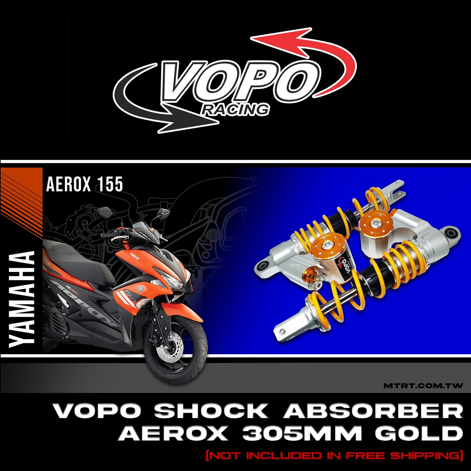 VOPO SHOCK AEROX155  YELLOW 305MM