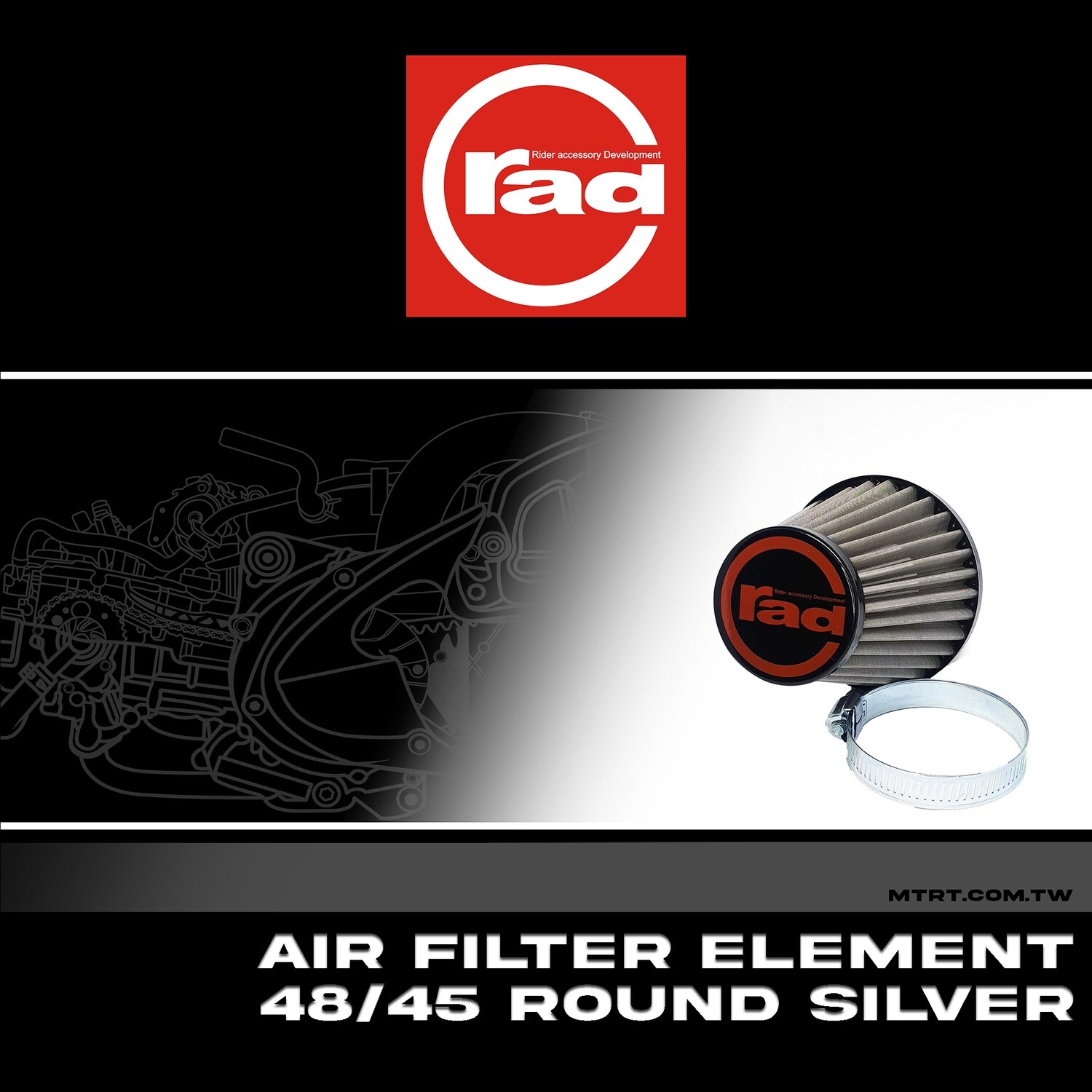 AIR FILTER ELEMENT STAINLESS 48-45MM 17200649WW4845 RAD round