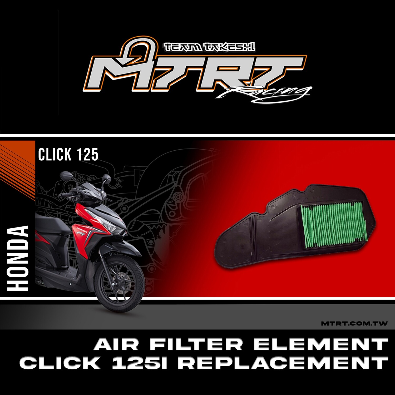 AIR FILTER ELEMENT CLICK125i Replacement