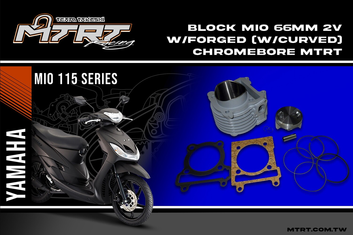 BLOCK MIO 66MM 2V w/forged (Curved) chromebore  MTRT