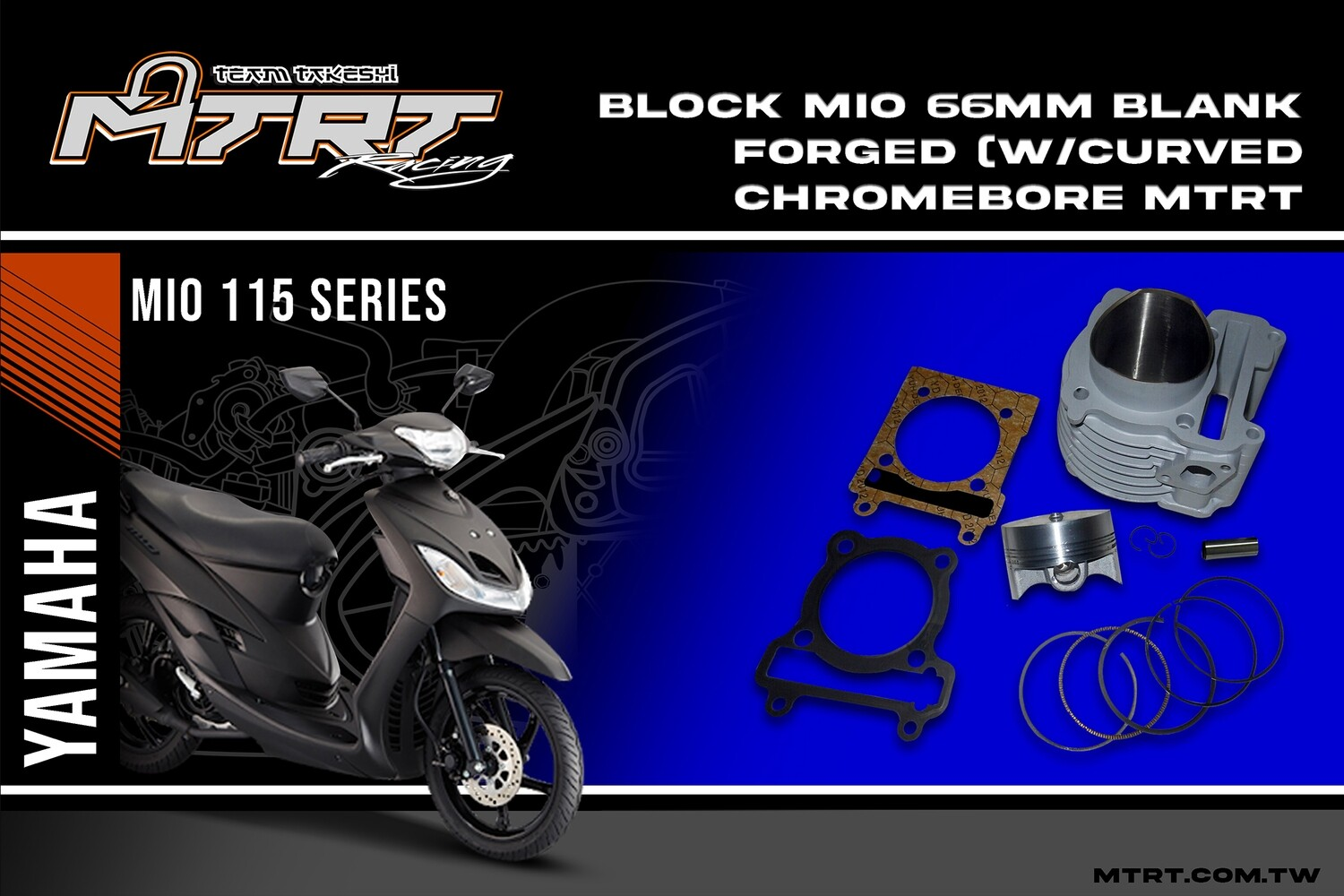 BLOCK MIO 66MM blank/forged (w/Curved chromebore  MTRT