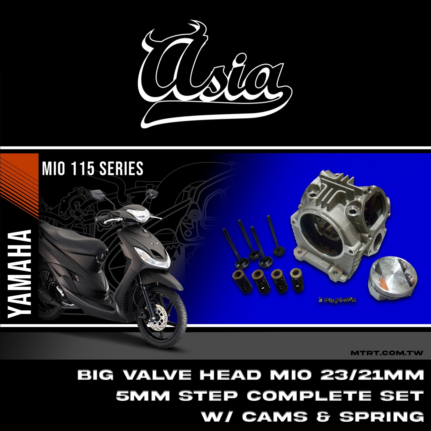 BIG VALVE HEAD MIO 23/21MM 5mm stem complete set w cams @ spring