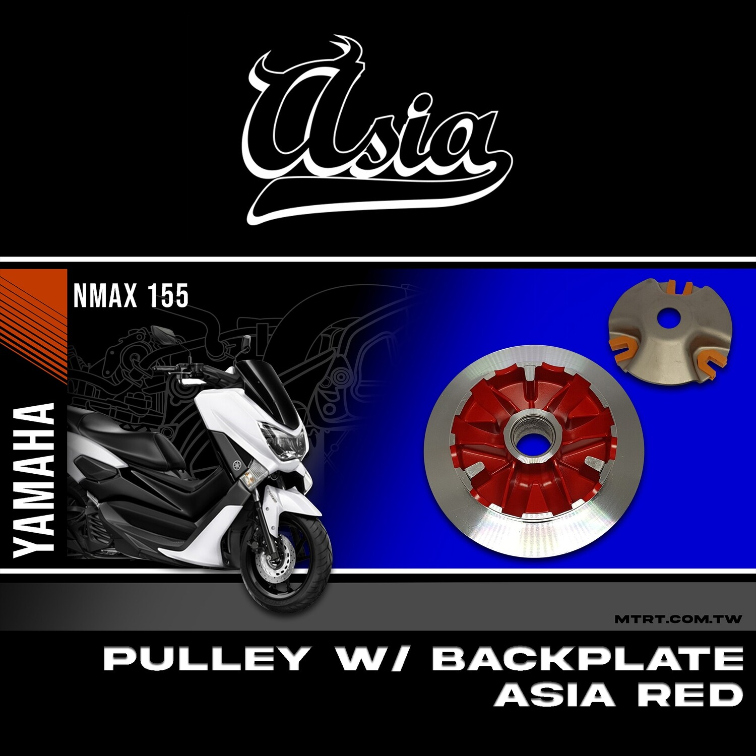 PULLEY W BACK PLATE NMAX 155 ASIA RED