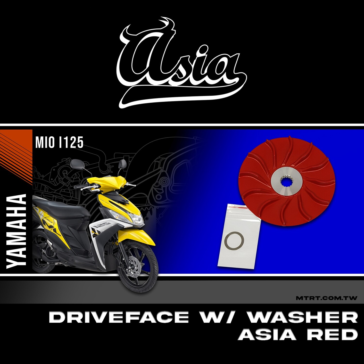 DRIVE FACE WITH WASHER MIOi125 ASIA RED