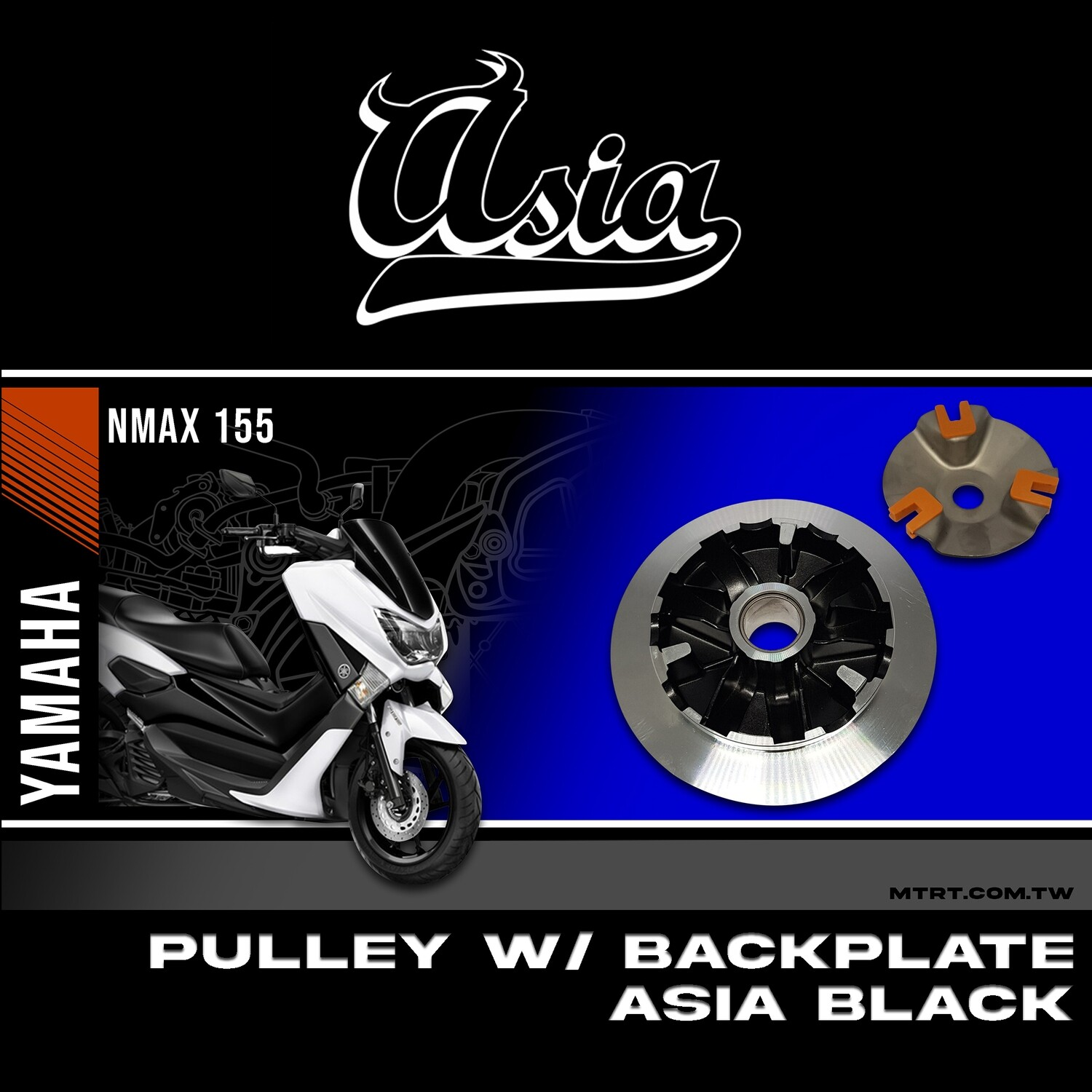 "PULLEY with BACK PLATE NMAX ""ASIA"" BLACK"