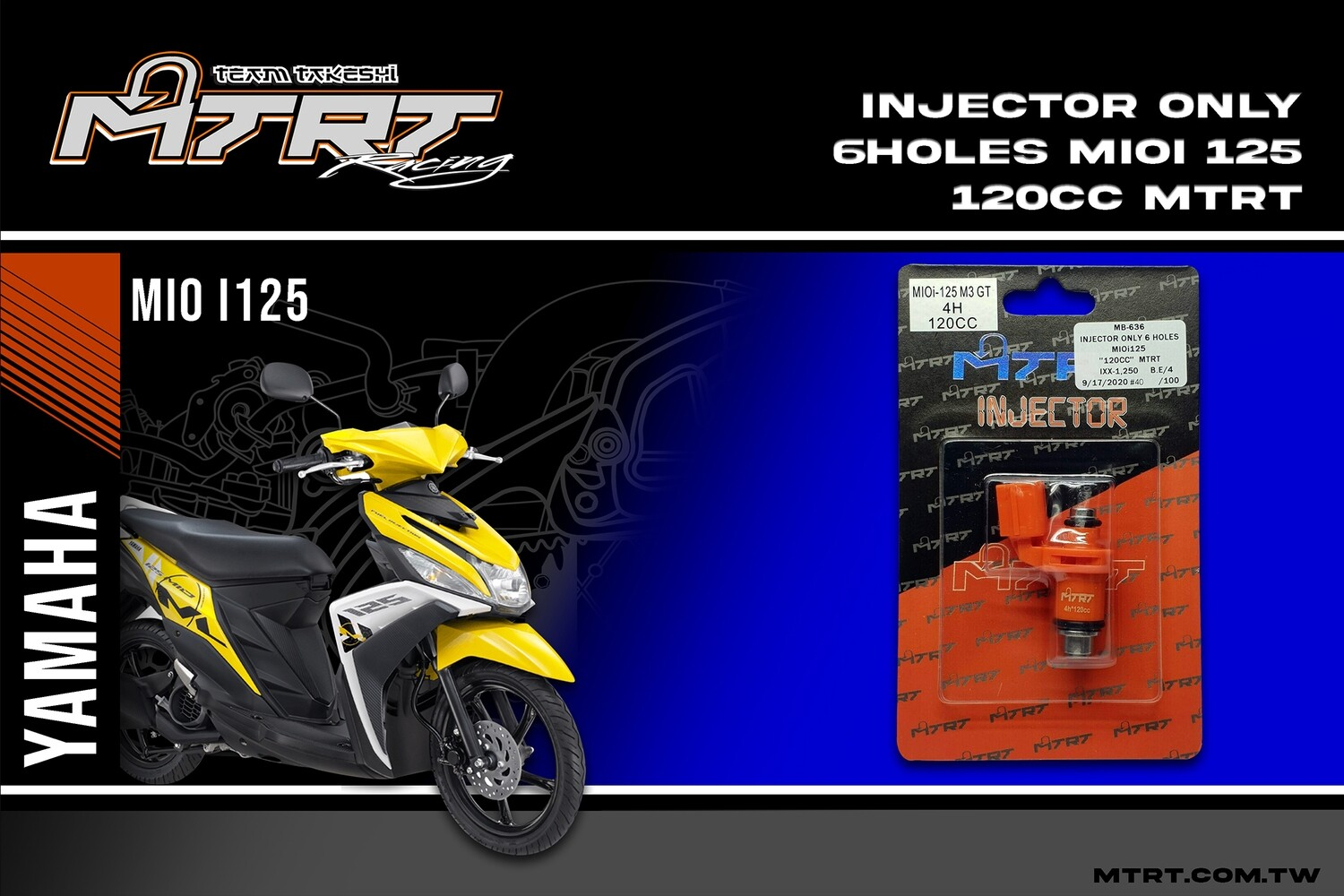 INJECTOR ONLY 6HOLES  MIOi125  120CC MTRT