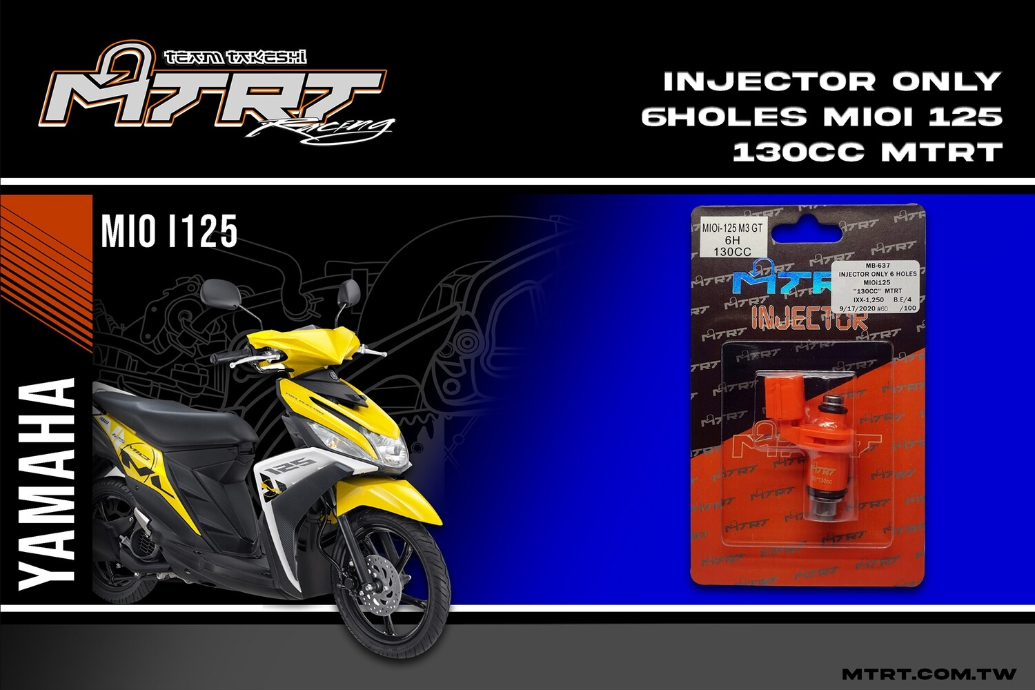 INJECTOR ONLY 6HOLES  MIOi125  130CC MTRT