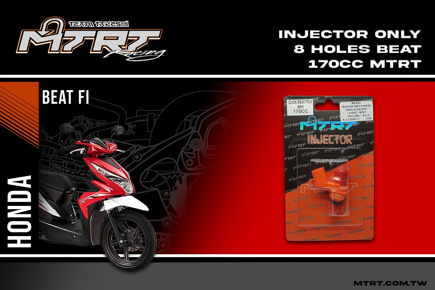 INJECTOR ONLY 8HOLES BEAT CLICK PCX 170CC MTRT