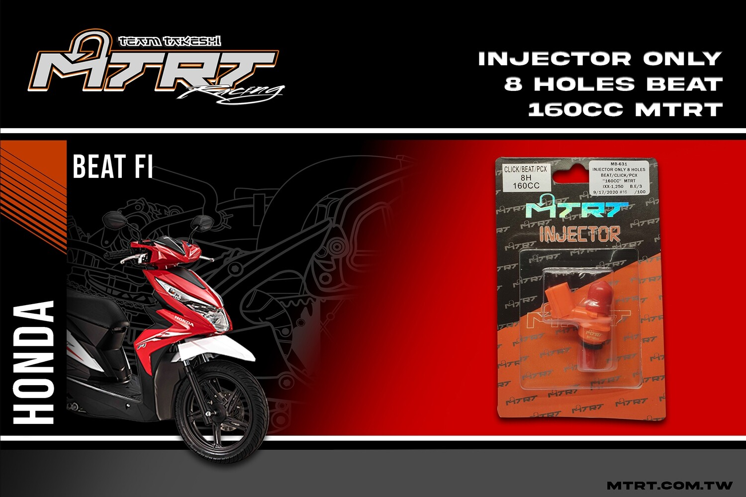 INJECTOR ONLY 8HOLES BEAT CLICK PCX 160CC MTRT