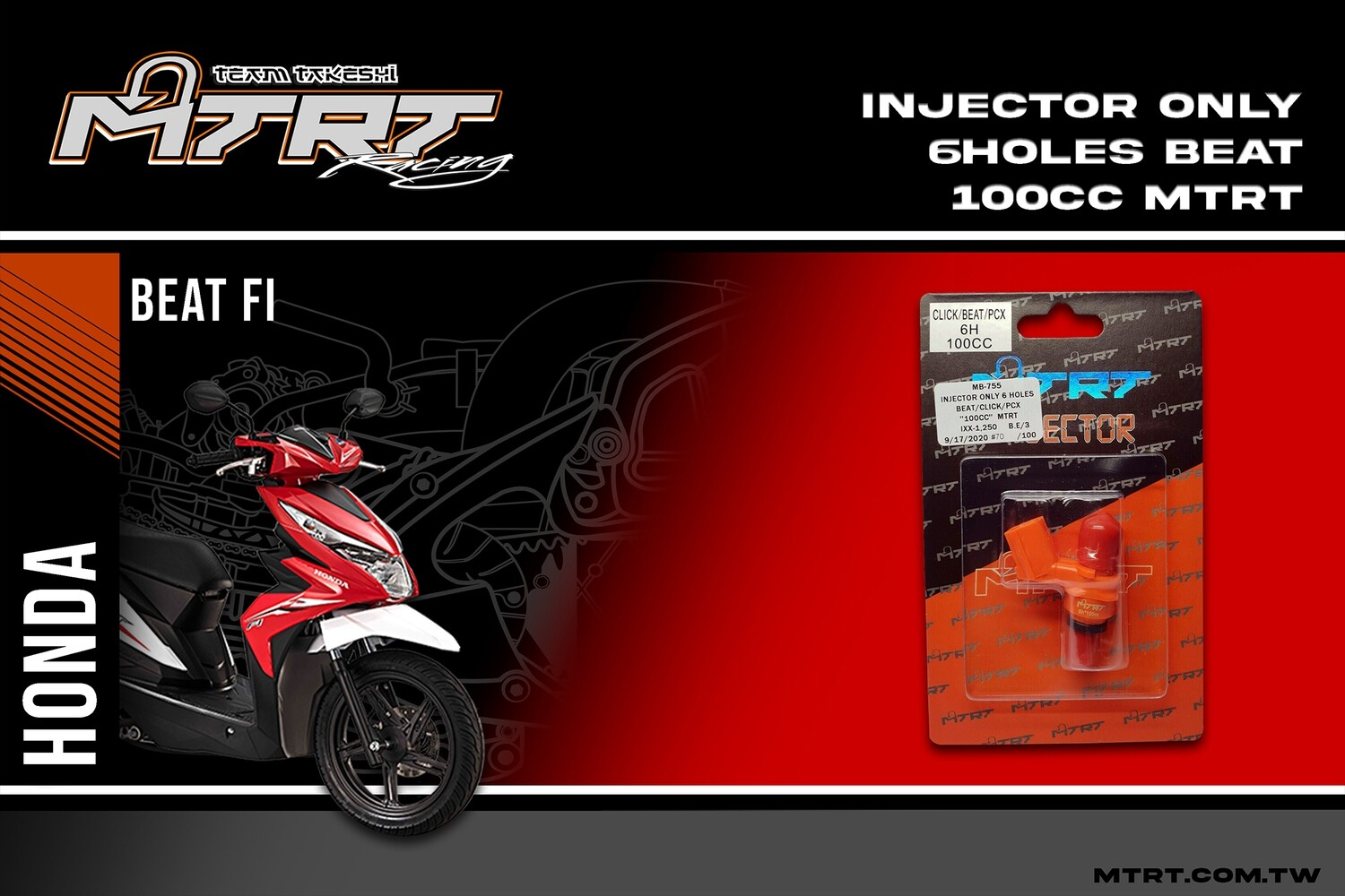 INJECTOR ONLY 6HOLES BEAT CLICK PCX 100CC MTRT