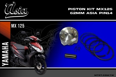 PISTON  KIT  MIO5MX125 62MM ASIA PIN14