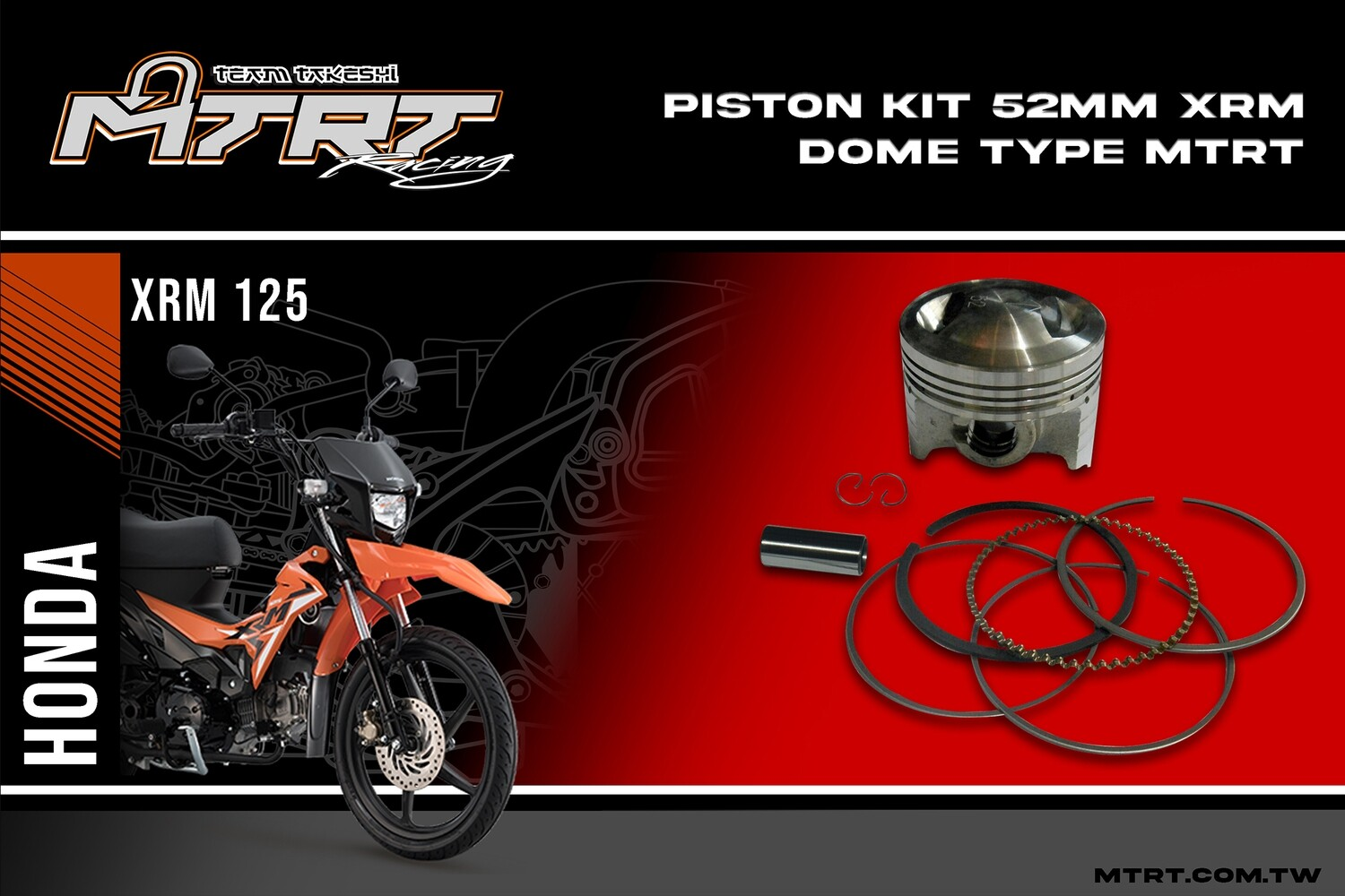 PISTON KIT  52mm X1/XRM dome type MTRT