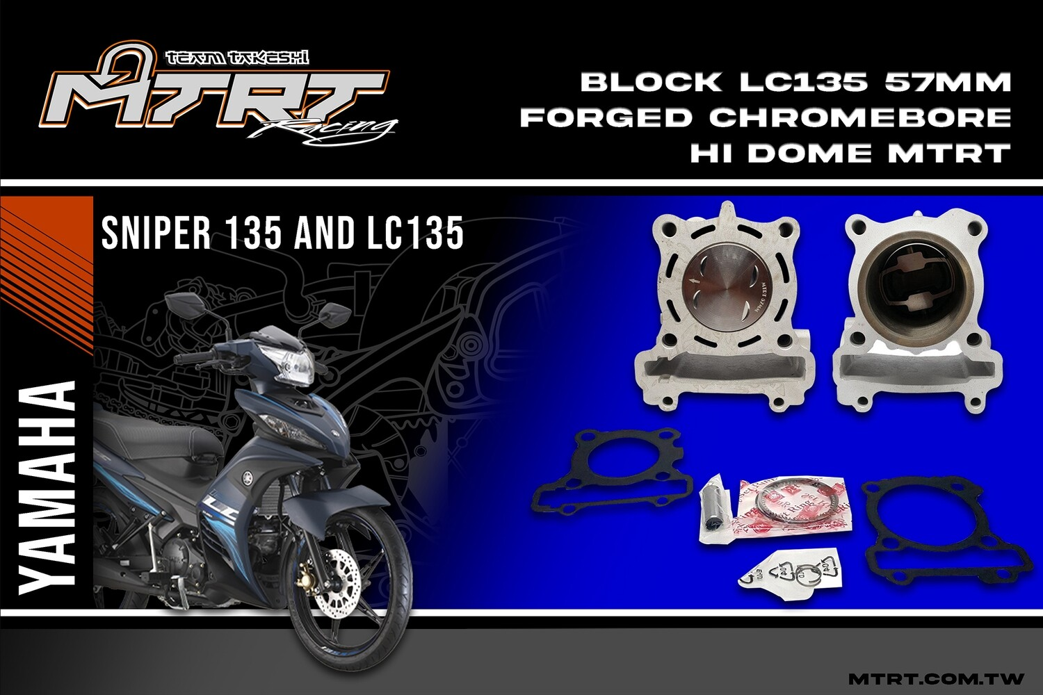 BLOCK LC135/SNIPER 57mm FORGED Chromebore hi dome  MTRT