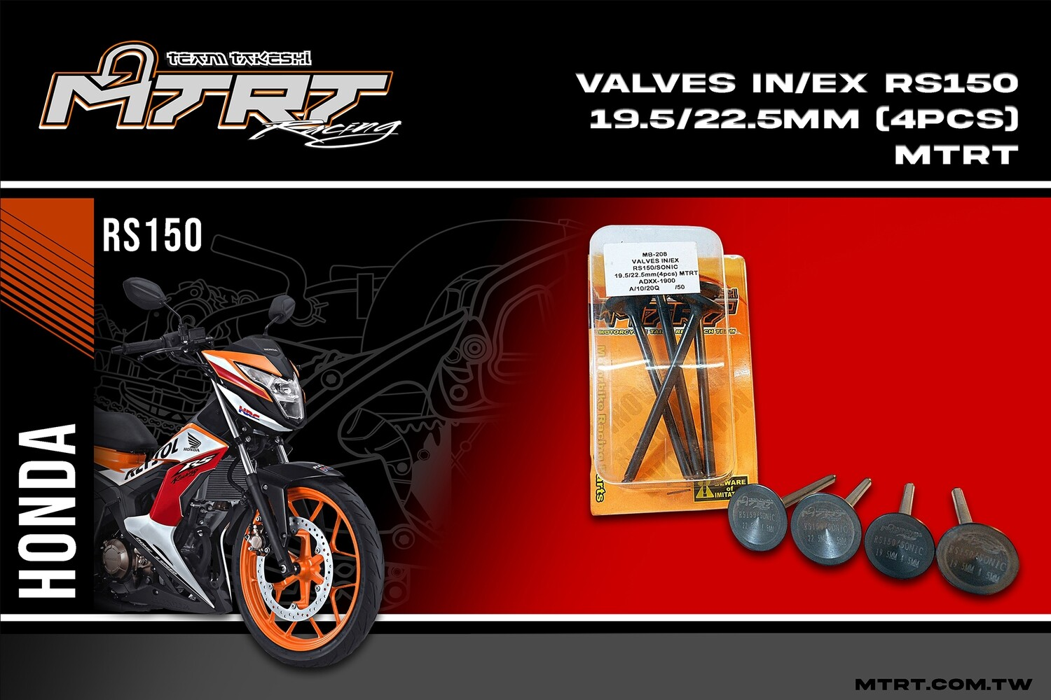 VALVES  IN-EX RS150-SONIC 19.5-22.5mm(4pcs) MTRT