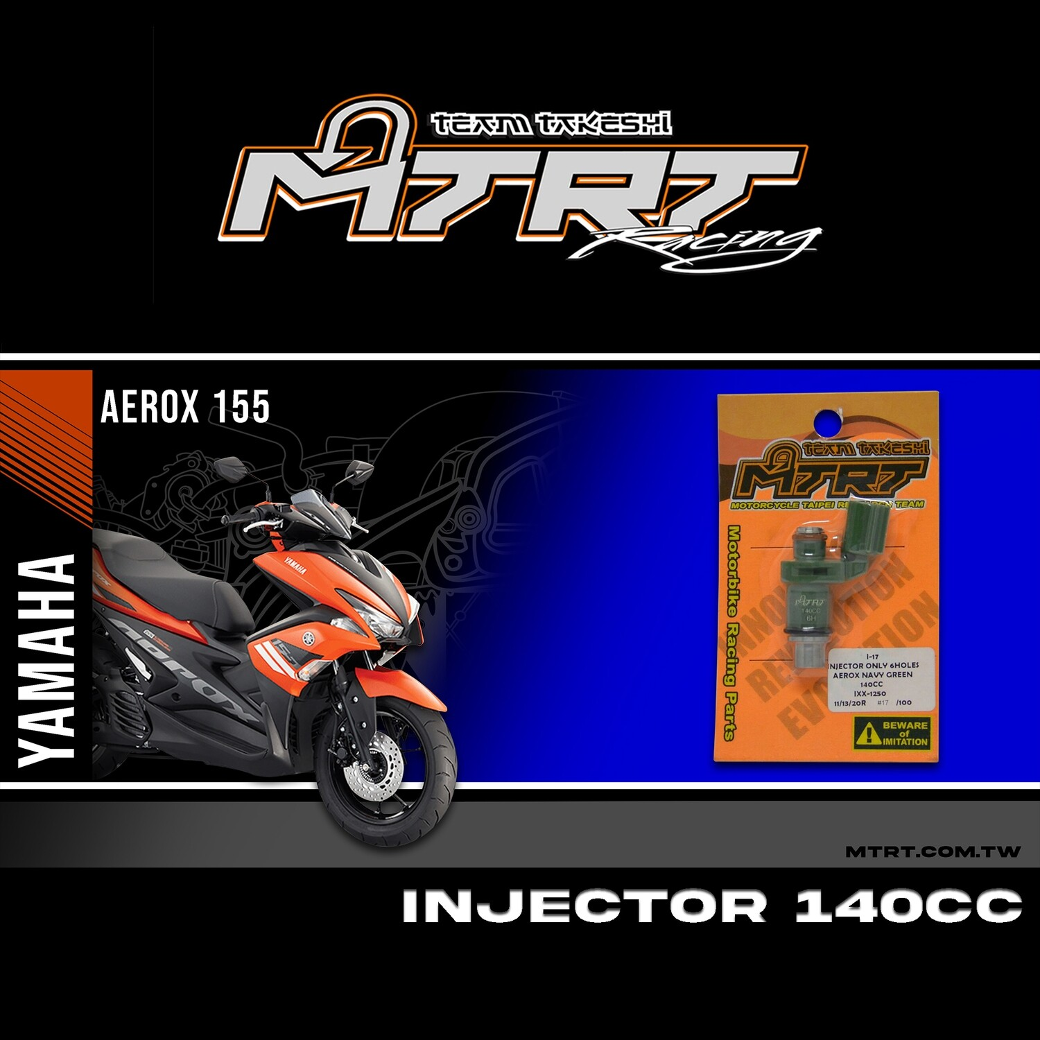 INJECTOR ONLY 6 HOLES AEROX NAVY GREEN 140CC