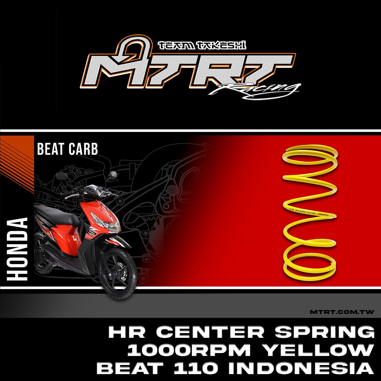 HR CENTER SPRING 1000RPM-YELLOW BEAT110 INDONESIA