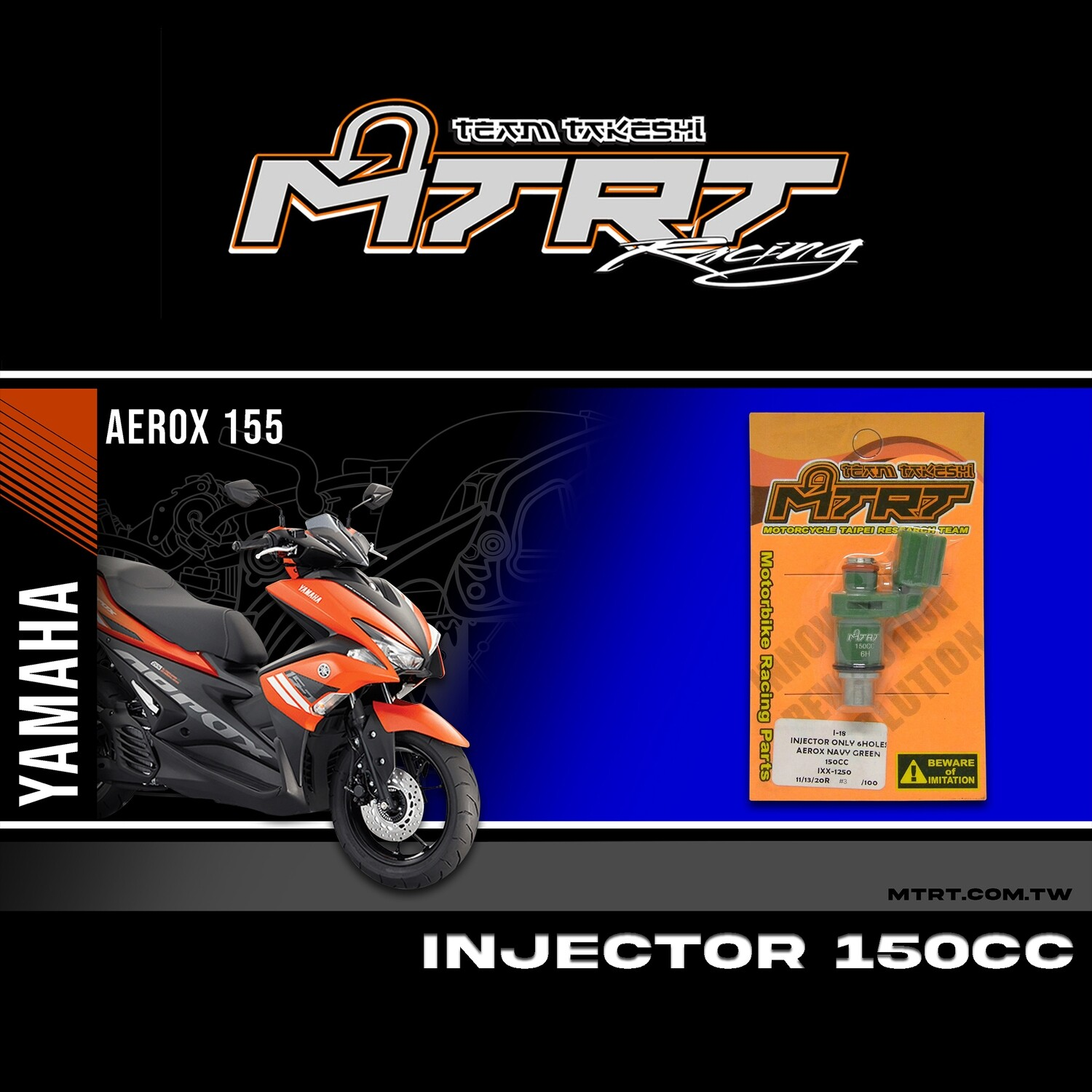 INJECTOR ONLY 6HOLES AEROX  NAVY GREEN 150CC (B.F/4)