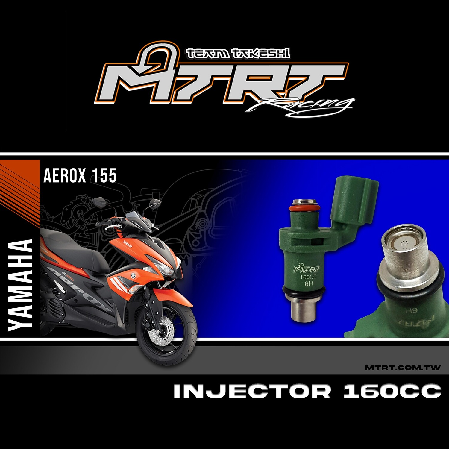 INJECTOR ONLY 6HOLES AEROX NAVY GREEN  160CC