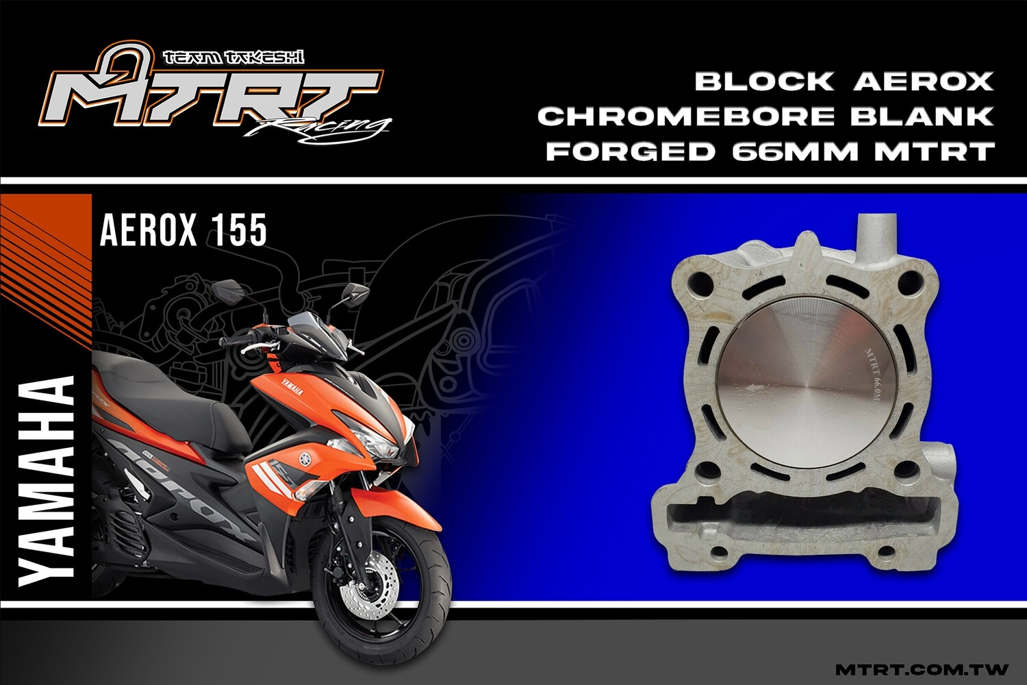 66MM CHROMEBORE CYLINDER BLOCK FOR NMAX/AEROX  WITH BLANK FORGED PISTON MTRT