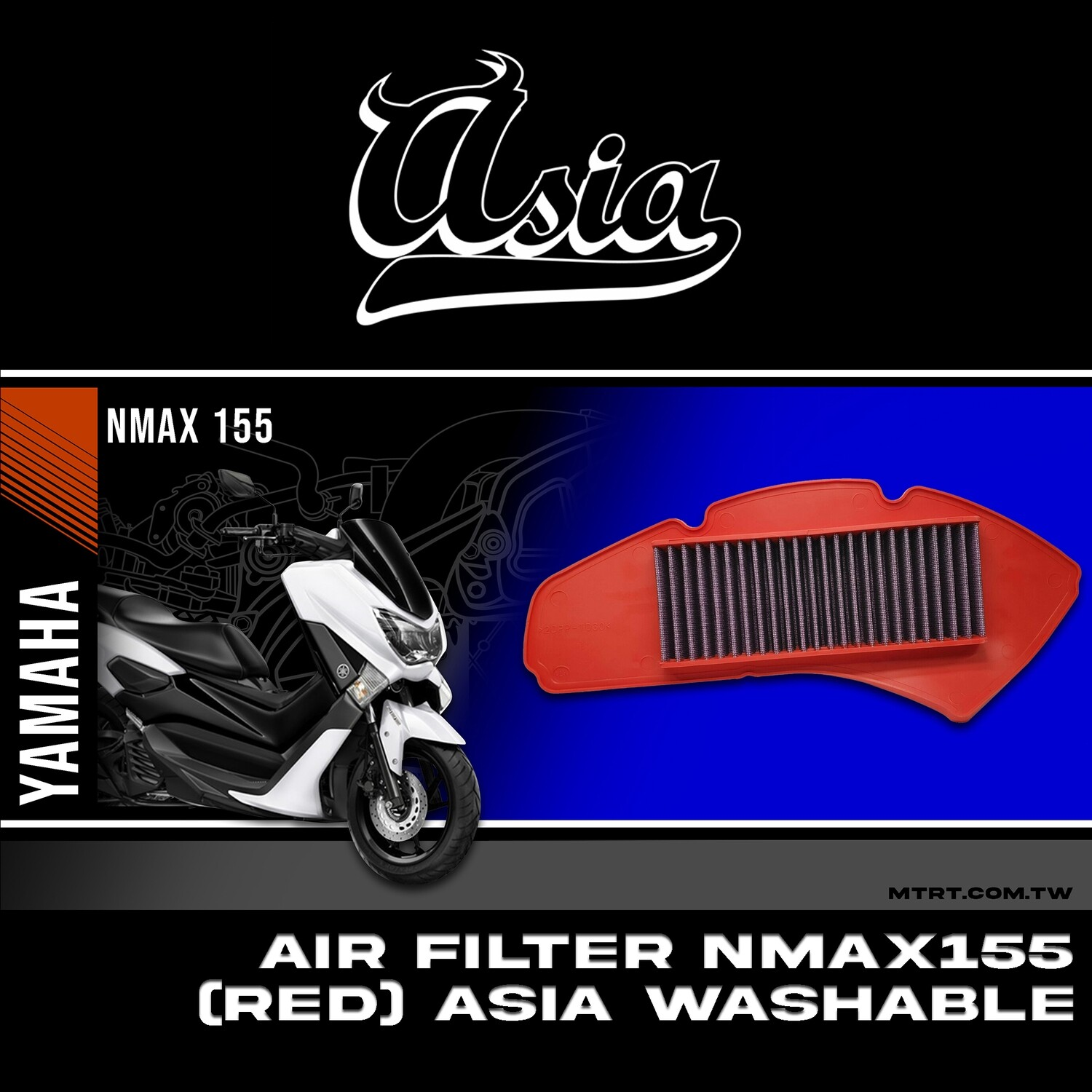 AIR FILTER NMAX155  (RED) ASIA WASHABLE