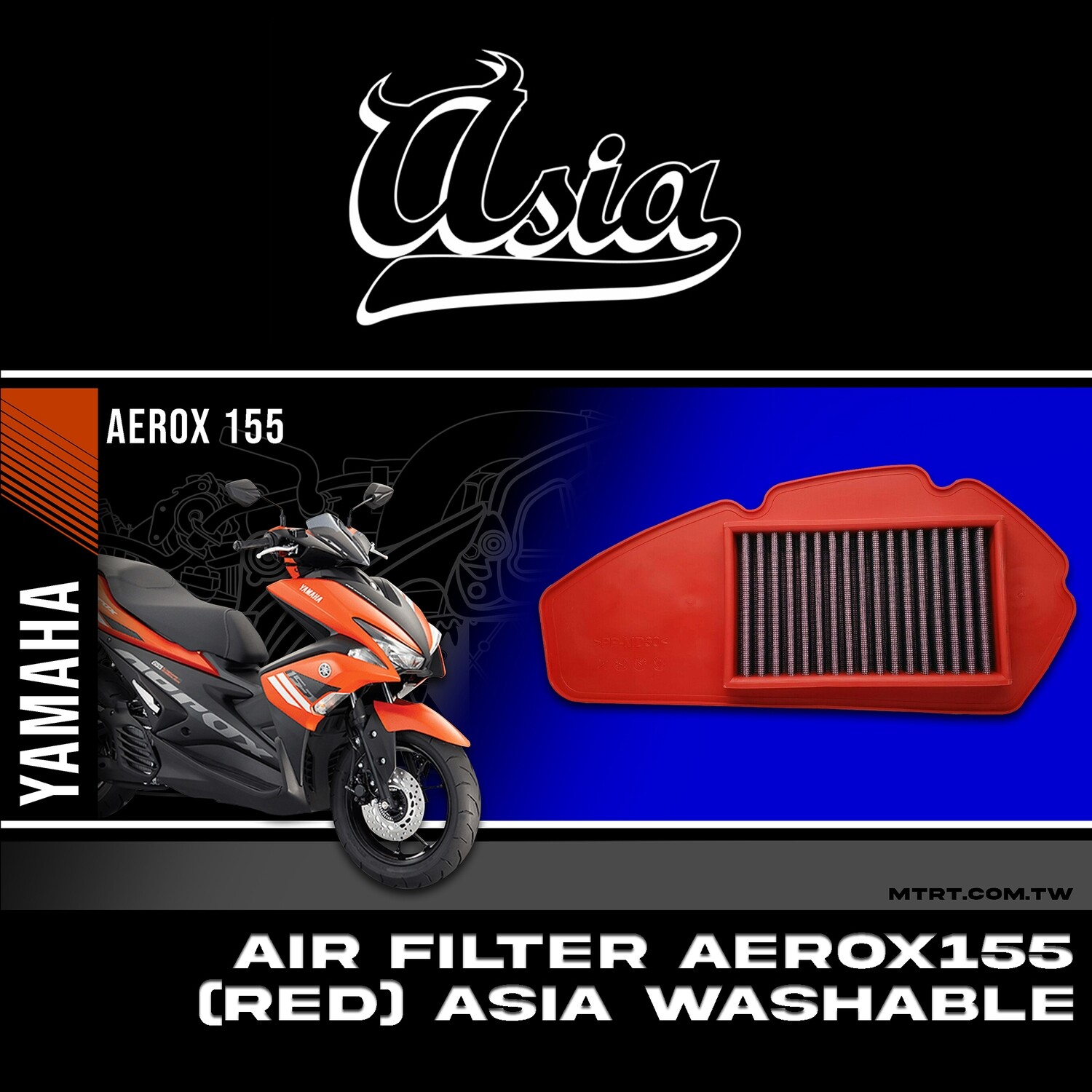 AIR FILTER AEROX155  (RED) ASIA WASHABLE